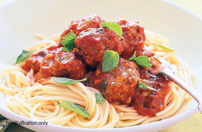 Children`s Menu - Meatballs and Pasta Napolitana