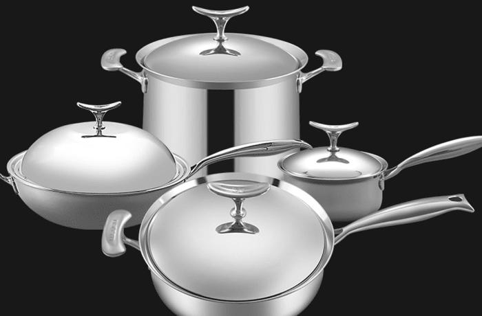 Lucuku 304 stainless steel wok frying pan soup pot milk pot four-piece - 1430949527