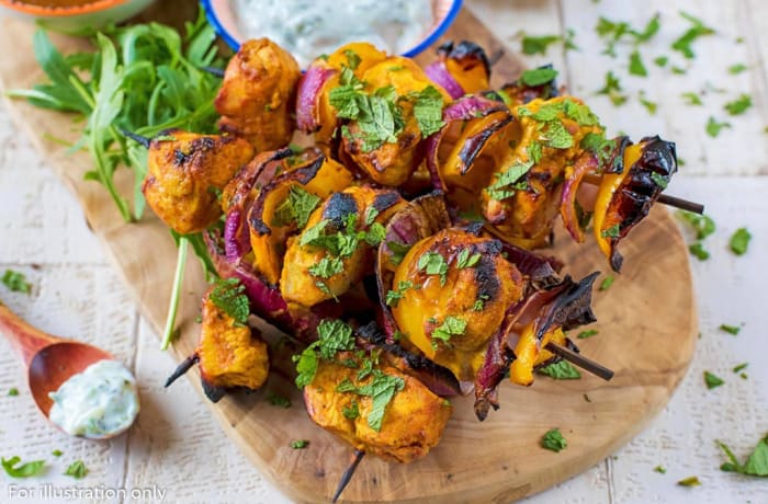 Tandoor cooked meals - Paneer Tikka Kebabs with Salads