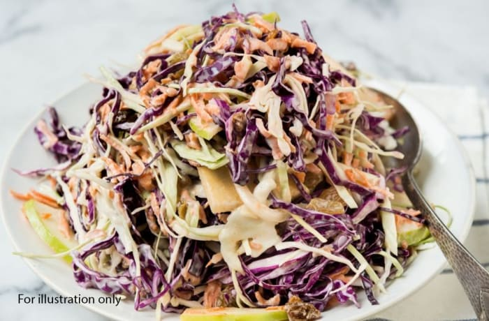 Wedding Menu Option 2 - Starters - Red and White Cabbage with Carrots, Raisins and Apples drizzled with Mayonnaise