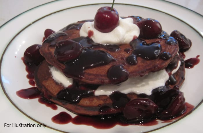 Dessert - Pancakes - Black forest with Cream Cheese, Ice Cream or Fresh Cream