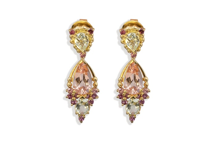 Yellow Gold Morganite  Cage Earrings