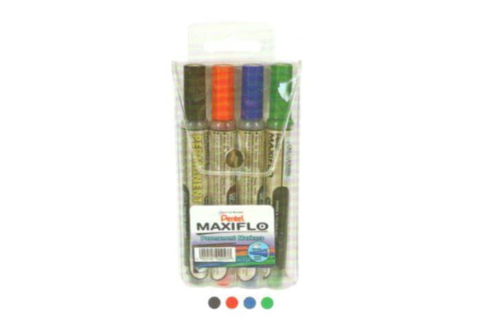 Permanent Markers - NLF60-4 Maxiflo Pump-it Chisel Point - Wallet of 4