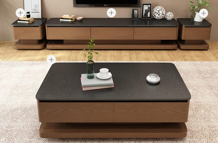 Nordic fire burnt stone coffee table and TV cabinet D15
