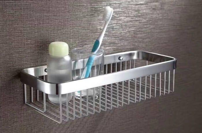 Bathroom shelf - Brushed matte steel shower caddy corner basket N100 A
