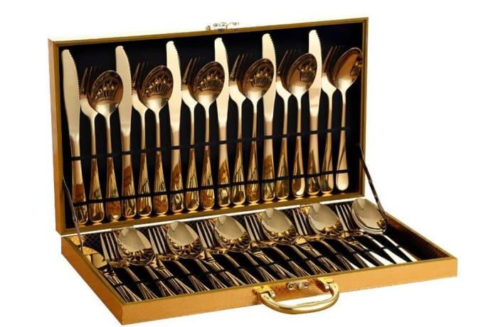 Golden Steak Knife Fork European-style Stainless Steel, gold case- 34497839614