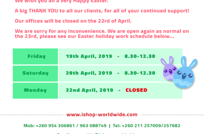 Opening hours during Easter Holiday image