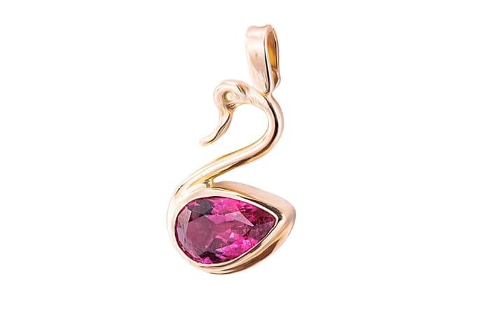 Rose Gold Pink Tourmaline  Swan Pendant
