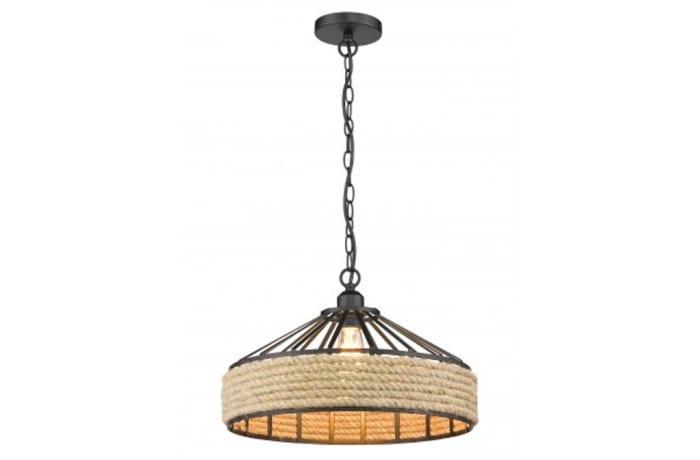 Chandeliers & Pendant Lights - JP0001-BLR Black Rope-1-Light