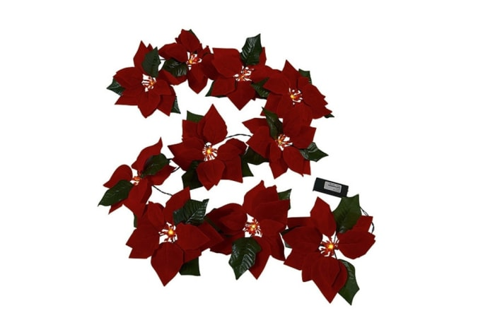 Poinsettia LED Garland