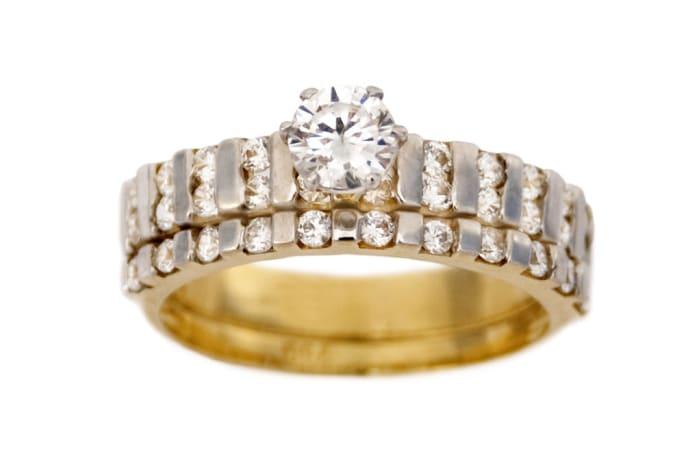 Princess Cut Multi-Row Gold Wedding Ring Set