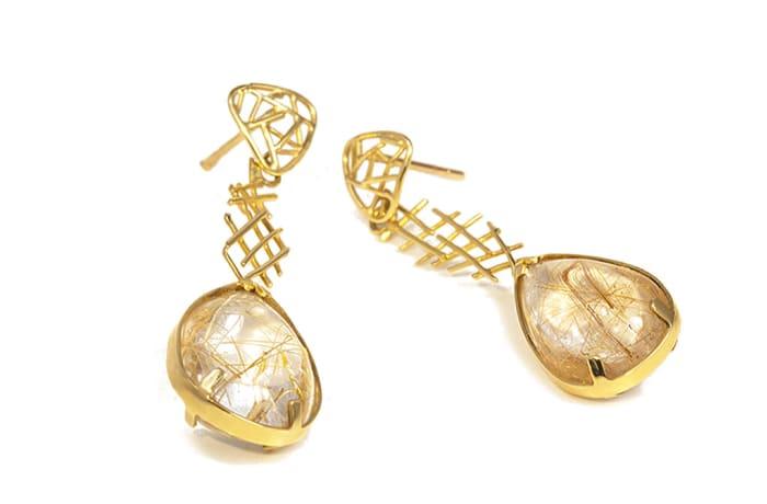 Wire Work  Quartz Drop Earrings
