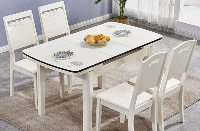 Retractable folding small apartment white solid wood dining table and chairs 008