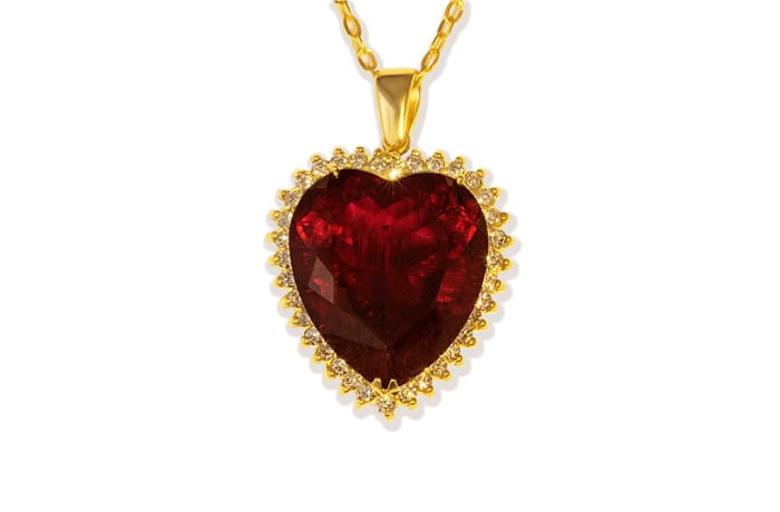 Rubellite Tourmaline  & Diamonds Heart Pendant
