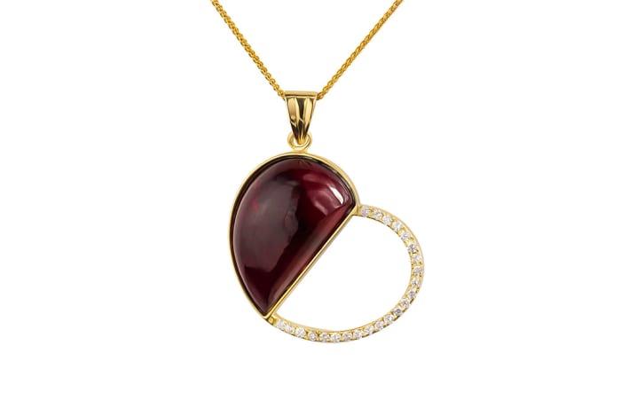 Yellow Gold Rubellite Tourmaline  Heart Pendant