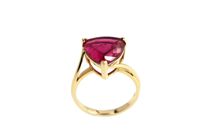 Yellow Gold Rubellite Tourmaline  Solitaire Ring
