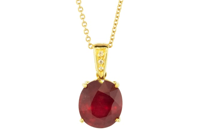 Yellow Gold  Ruby  Cage Pendant
