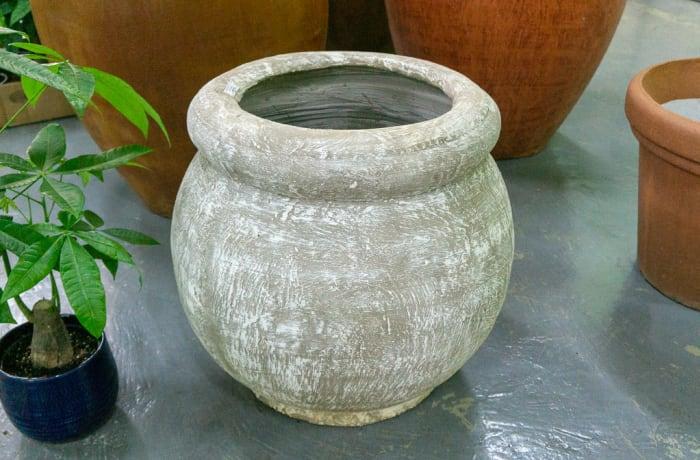 Tieka Large Pot - Color White Brush