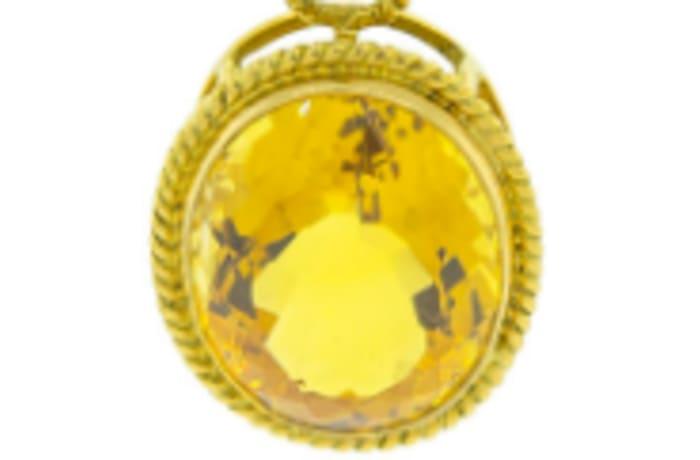 Citrine oval pendant