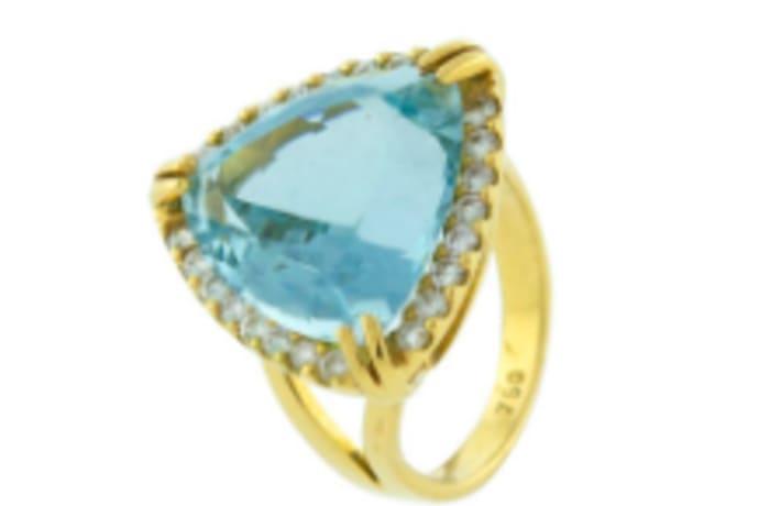 Trillion aquamarine ring
