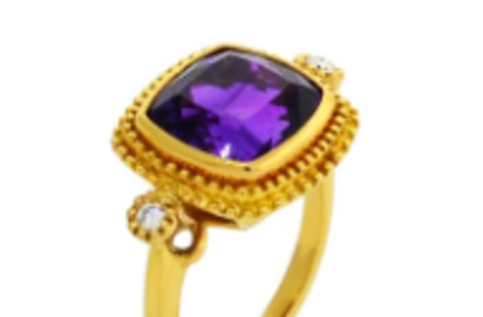 Trilogy  Amethyst  Yellow Gold Ring