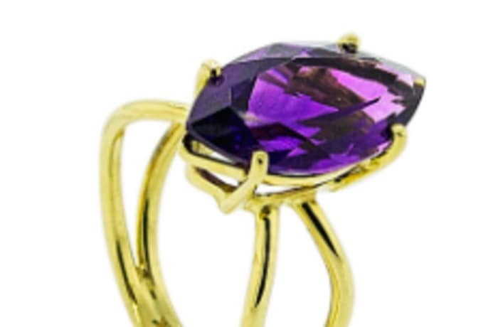 Marquise amethyst cage ring