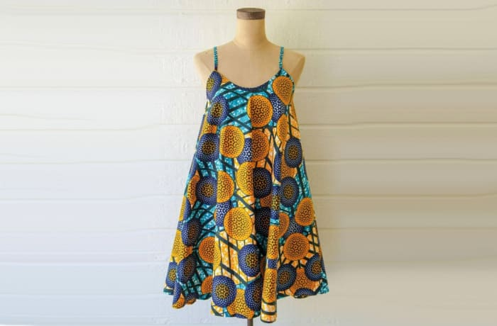 Short dress - African Chitenge print strap shift dress
