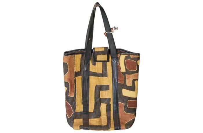 Shoulder Bag Kuba Cloth  Brown Print Handbag