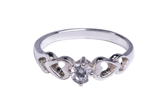 Silver   Cubic Zironia Bridal Heart Solitaire