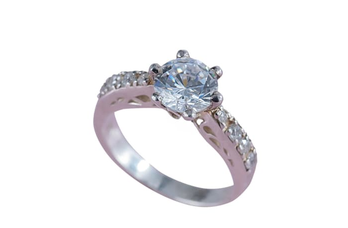 Silver  Cubic Zirconia  Bridal Pinched Shoulder Ring