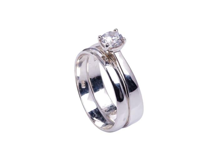 Silver   Cubic Zirconia  Bridal Set