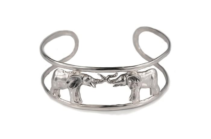 Silver  Two Elephants Cuff Bangle