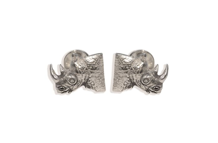 Silver  Rhino Head Bullet  Cuff Links