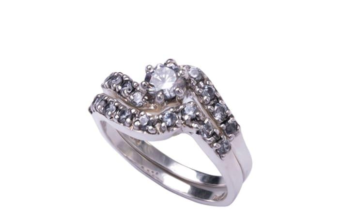 Silver Cubic Zirconia  Swirl Bridal Set