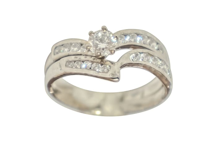 Swirl Princess Cut Silver Wedding Ring