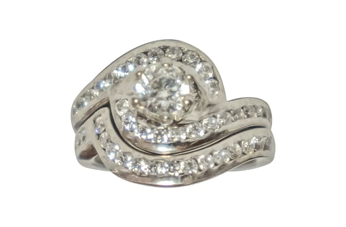 Silver Wedding Set Ring TRG-252