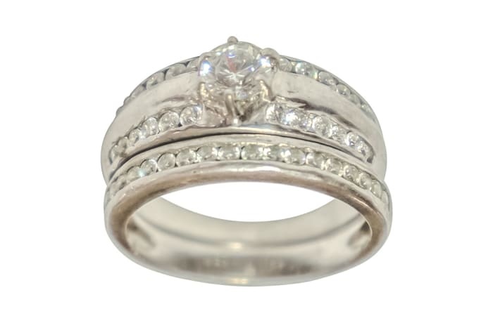 Silver Wedding Set Ring TRG-264