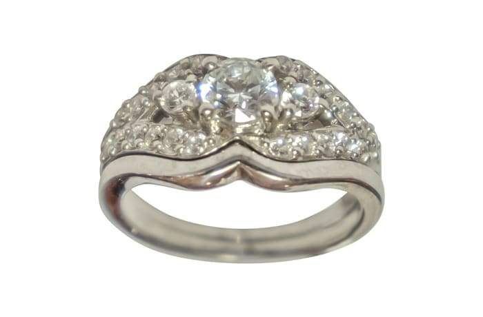 Silver Wedding Set Ring TRG-317