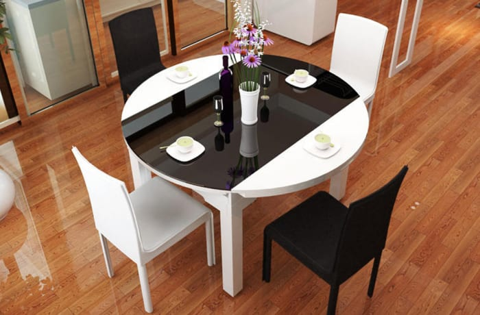 Simple modern telescopic dining table and chair 35578911258