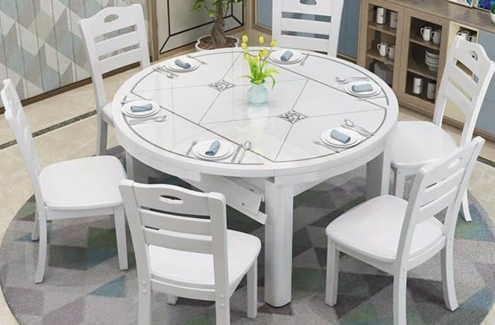 Solid wood dining table and chairs combination retractable folding tempered glass top A08