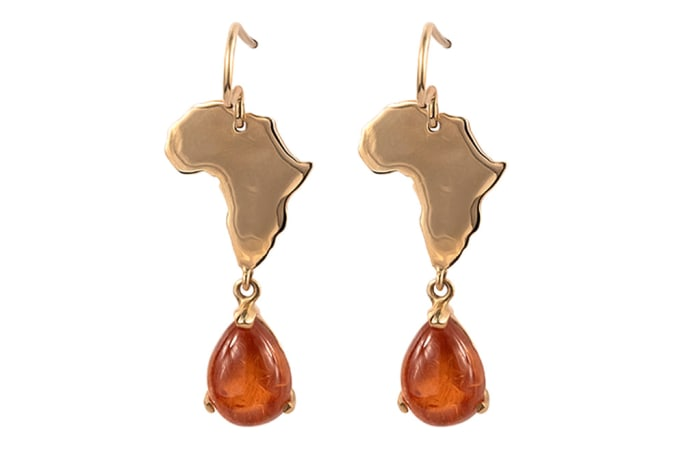 Yellow Gold Spessartite  Africa Earrings