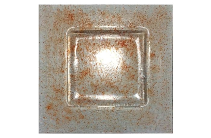Square tray of hues of red glass