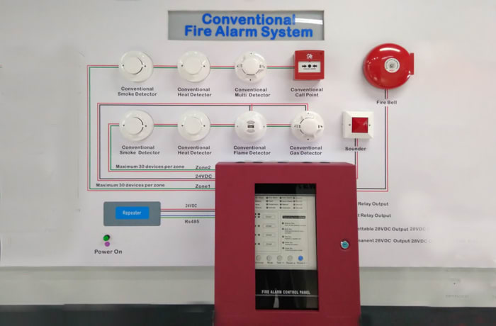 Fixed Fire Fighting Equipment - 4 Zone Fire Control Panel