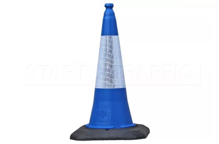 Warning Devices - Blue Road Cone with white reflective sleeve