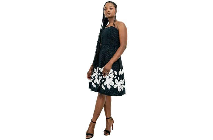 Summer sleeveless dress - White and black dress flowery