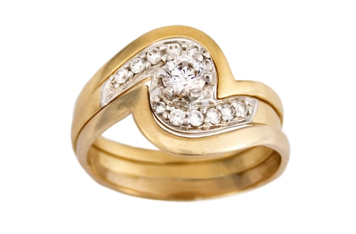 Swirl Bypass Bridal Set Gold Wedding Ring
