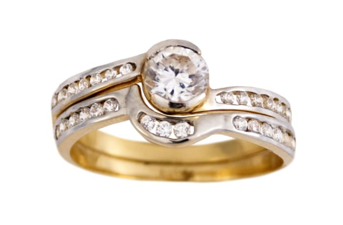 Swirl Bypass Gold Wedding Ring Set