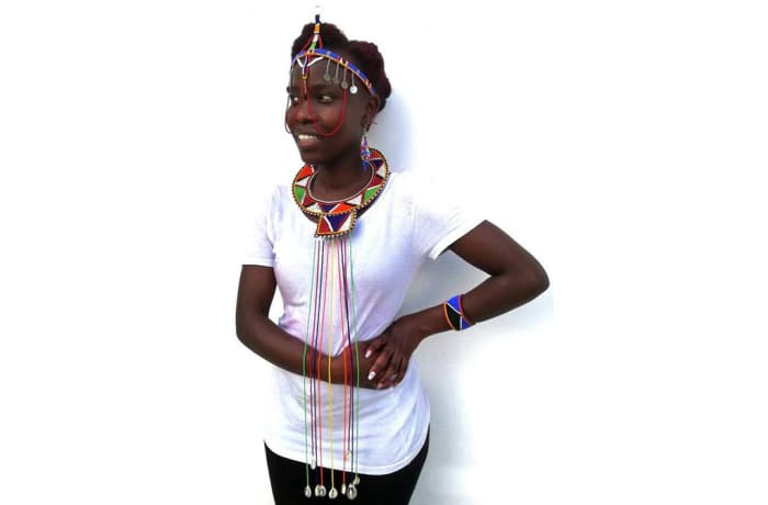 Beaded head band necklace and bangle