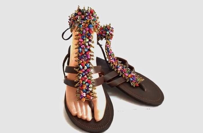 Beautiful beaded leather gladiator sandals