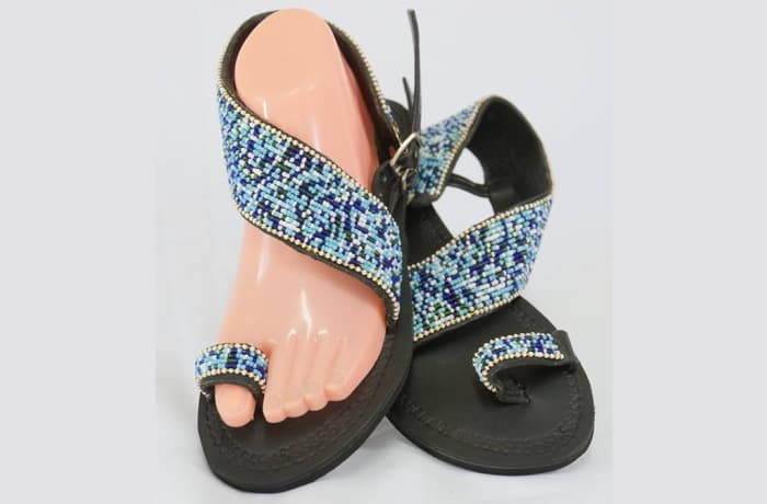 Black leather sandals with blue & white beads